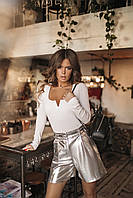 Женские стильные шорты из эко-кожи с поясом (42-46) Серебро, фото 1
