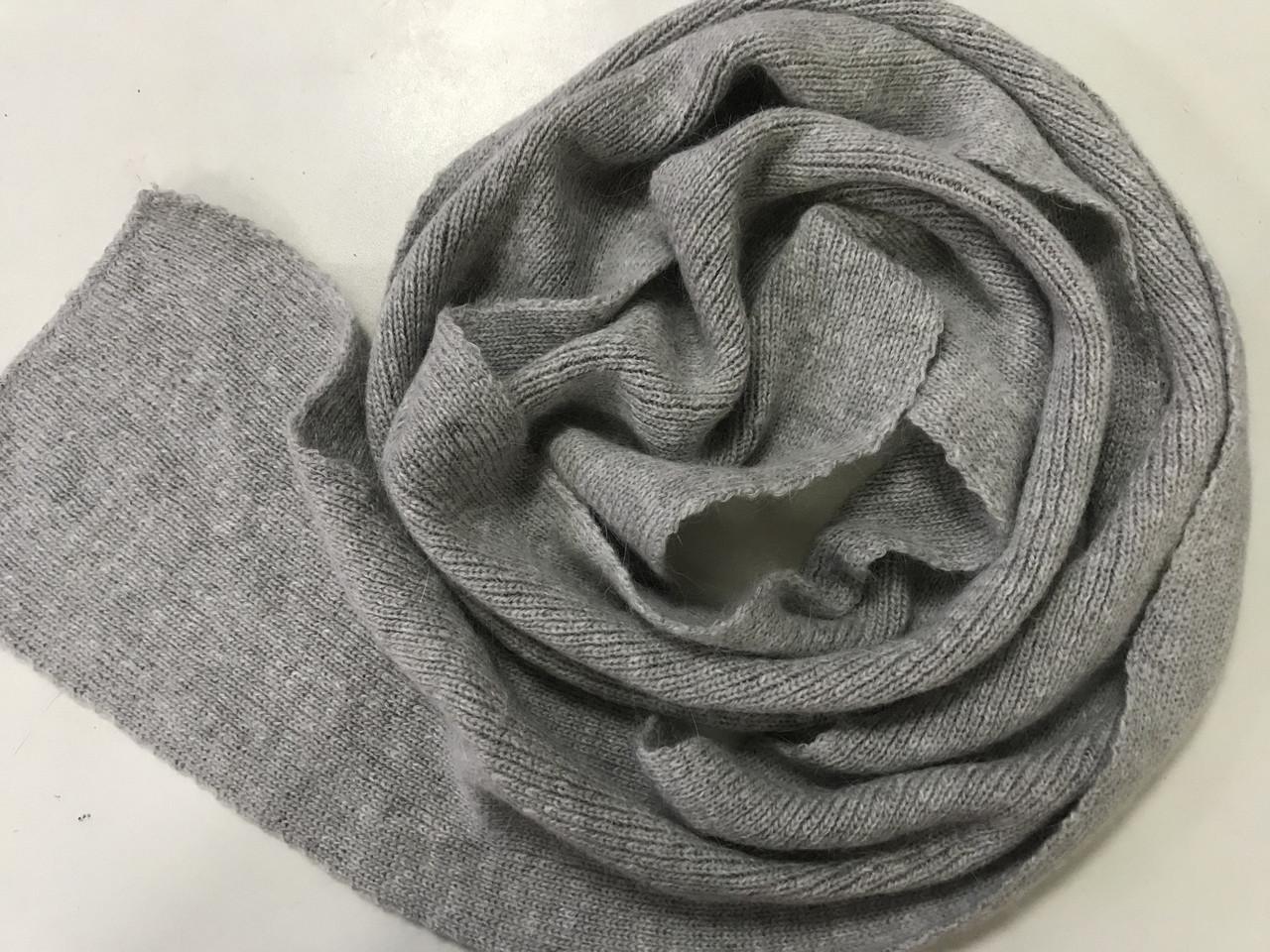 Светло серый вязаный  шарф из ангоры