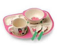 """Посуда детская бамбук """"Замок принцессы"""" 5пр/наб (2тарелки, вилка, ложка, чашка) MH-2773-5"""