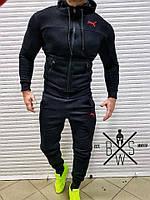 Спортивный костюм зимний мужской в стиле Puma CL black / ЛЮКС качество