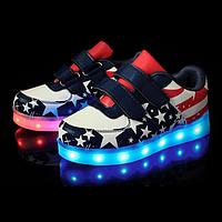 Светящиеся кроссовки UNi с LED подошвой детский кроссовок на липучке для девочек  America  р.28