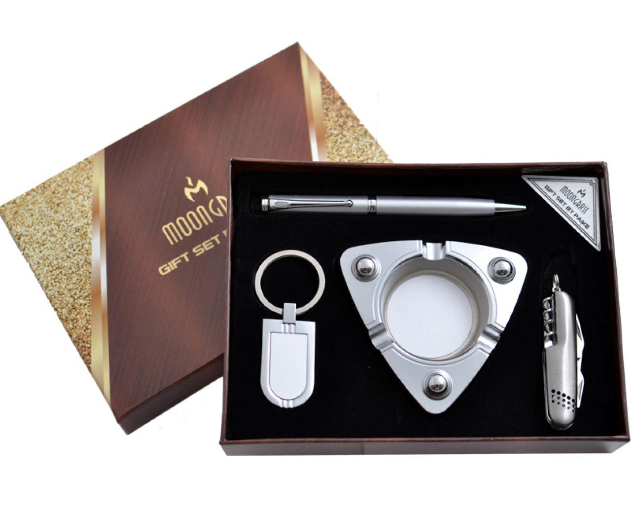 Подарочный набор c пепельницей, раскладным ножом, ручкой и брелком Moongrass 4в1