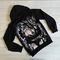 ✅Кофта с капюшоном для мальчика с принтом волка черная Принт светится в темноте 128 134