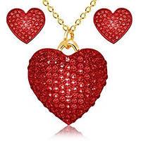 """Шикарный комплект бижутерии """" Сердце любимой"""" Kigmay Jewelry с россыпью камней серьги + кулон с цепочкой"""