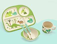 """Посуда детская бамбук """"Динозавры"""" 5пр/наб (2тарелки, вилка, ложка, чашка) MH-2773-4"""