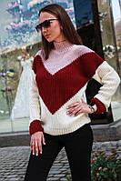 Яркий разноцветный вязаный свитер