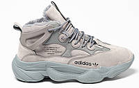 Зимние мужские кроссовки Adidas Yeezy 500 Grey (адидас изи буст 500, внутри мех)