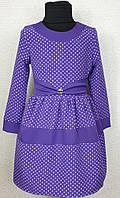 Детское платье  в горошек р. 116-134 сирень