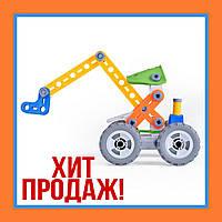 Конструктор обучающий машинка Экскаватор с отверткой для мальчика и девочки
