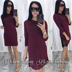 Платье трикотажное декорировано кружевом + (3 цвета)