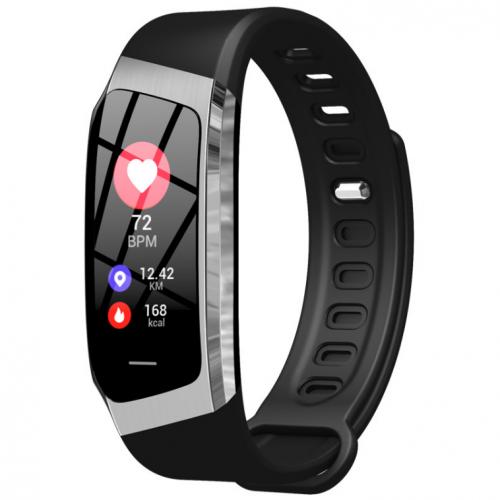 Фитнес браслет с измерением пульса и давления Smart band E18 silver-black