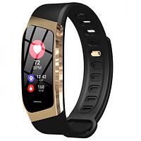 Фитнес браслет с измерением пульса и давления Smart band E18 gold-black