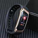 Фитнес браслет с измерением пульса и давления Smart band E18 gold-black, фото 2