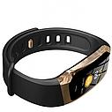 Фитнес браслет с измерением пульса и давления Smart band E18 gold-black, фото 3