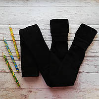 Детские махровые леггинсы, чёрный цвет. Размеры: 116-122, 128-134, 152-158
