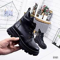 Женские черные зимние  кожаные натуральные высокие ботинки  на меху с декоративной молнией сзади 40р