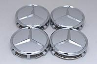 Колпачки/заглушки для дисков Mercedes с хром. звездой 75мм СЕРЕБРО A2204000125