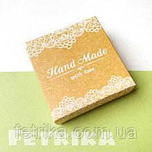 """Коробка подарочная из крафт-картона """"Hand Made"""" 77*80*28 мм"""