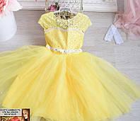 Бальное пышное платье на утренник и праздник от 3 до 7 лет классика желт