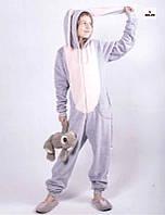 Кигуруми піжама дитячий комбінезон махровий з вушками сірий теплий кигуруми р. 34-40