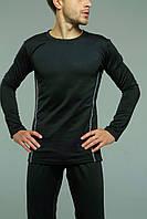 Термобелье комплект мужской черный зимний теплый микродайвинг на флисе без логотипа, фото 1