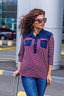 Стильная женская блузка-рубашка батал с длинными рукавами и двумя нагрудными карманами (р.52-56). Арт-1034/11, фото 1