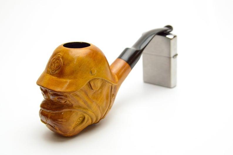 Необычная трубка для курения Бульдог из дерева груши с мундштуком под фильтр 9 мм