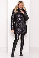 ✔️ Модный теплый пуховик Техас из эко-кожи 40-48 размера черный, фото 1