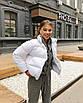 Трендовый объемный дутый пуховик куртка короткий мини теплый зимний черный белый с карманами оверсайз, фото 5