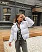 Трендовый объемный дутый пуховик куртка короткий мини теплый зимний черный белый с карманами оверсайз, фото 6