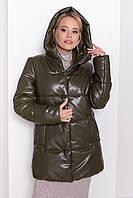 ✔️ Модный теплый пуховик Техас из эко-кожи 40-48 размера хаки