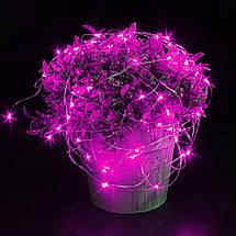 Декор Светодиодная Гирлянда Нить Проволока ЛЕД Розовая На Батарейках 10м 100led Pink, фото 3