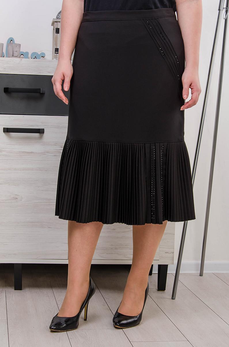 Юбка женская размер плюс Зарина  черный (52-62)