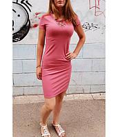 Платье женское, короткий рукав, рубчик, шнуровка на груди RUE21