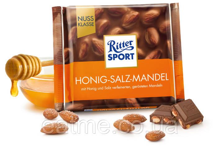 Ritter Sport Молочный шоколад + солёный  миндаль и мёд