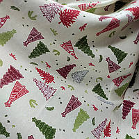 Новогодняя ткань Ёлки фон молочный 280 см (213161)