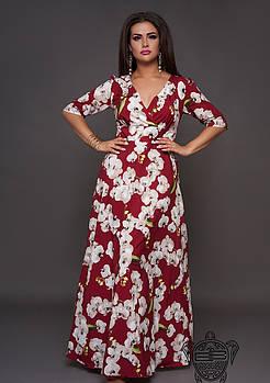 / Размер 54-56 / Женское длинное платье с цветами орхидея 30559