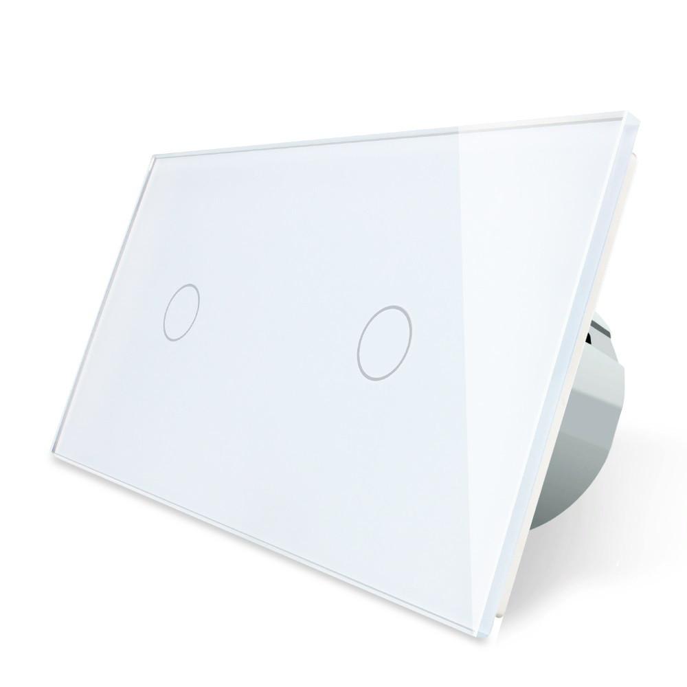 Сенсорный выключатель Livolo 1+1, цвет белый, стекло (VL-C701/C701-11), фото 1
