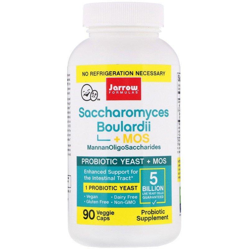 "Сахаромицеты Буларди + МОС, Jarrow Formulas ""Saccharomyces Boulardii + MOS"" пробиотики, 5 млрд КОЕ (90 капсул)"