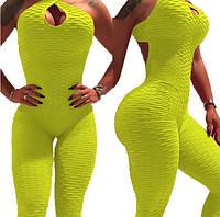 Спортивный комбинезон для фитнеса, йоги, желтый XL