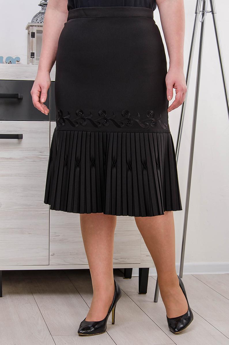 Юбка женская размер плюс Анжелика черный (52-62)