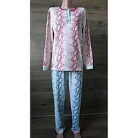 Зимняя розовая пижама из хлопкового трикотажа с начесом 44-58 р