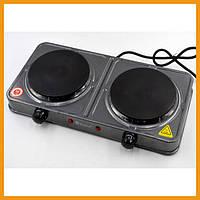 Плита электрическая двухкомфорная для кухни Domotec MS-5822 2000W электроплита для дома (84169)