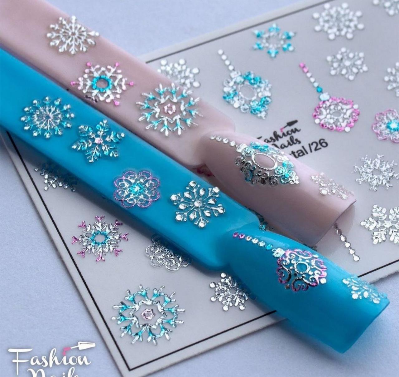 Зимний слайдер дизайн 3D Снежинки со стразами - Новогодние наклейки для ногтей арт.3DCrystal/26