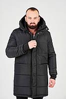 Куртка зимняя парка длинная спортивная теплая черная мужская без логотипа