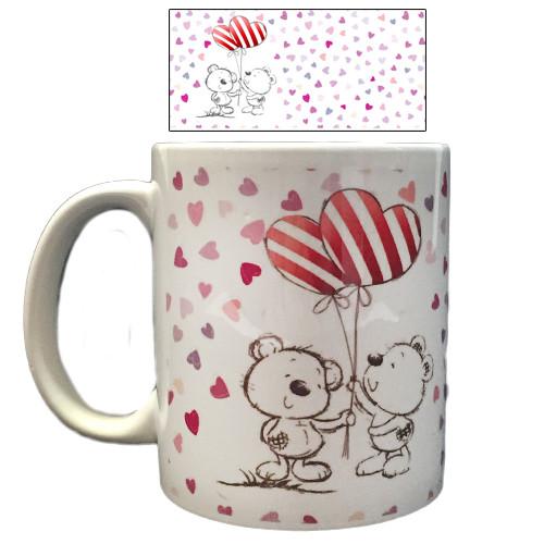 Чашка подарочная Мишки пара с шариками