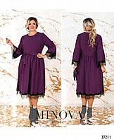 Удобное свободное женское платье с кружевом в расцветках больших размеров  50 - 64