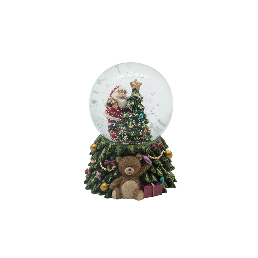 LED Шар подсветка Санта с ёлкой 8см 109241