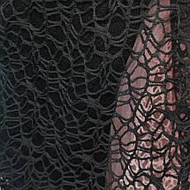 Ткань гипюр (кружево) на сетке черный, фото 3