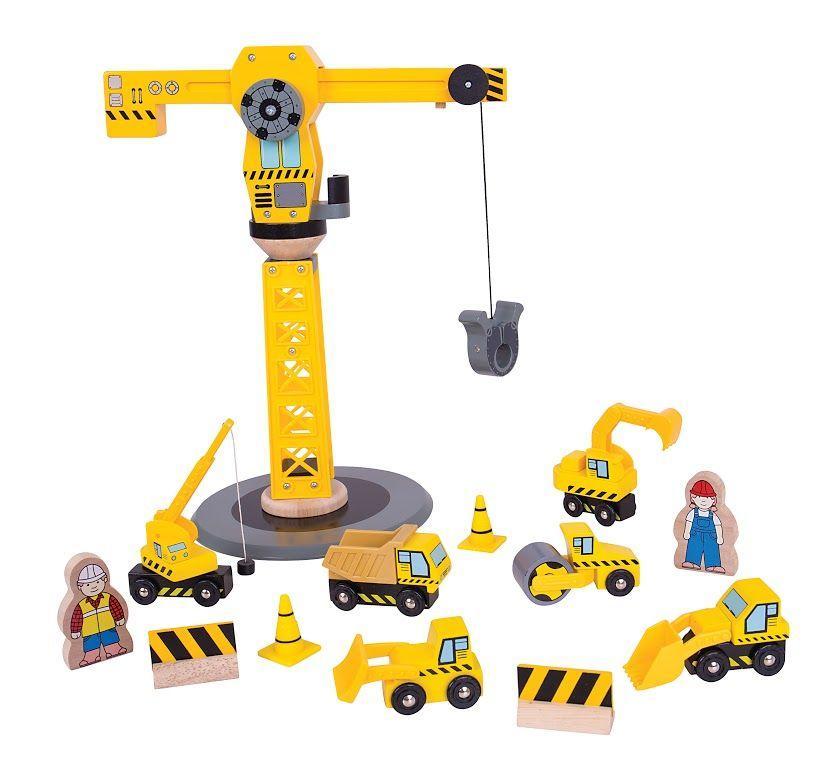 Великий кран до дерев'яної дорозі будівельний набір Bigjigs Toys Великобританія